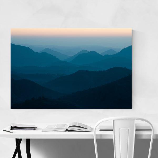 Blue Layers Aravali Mountain Art Print