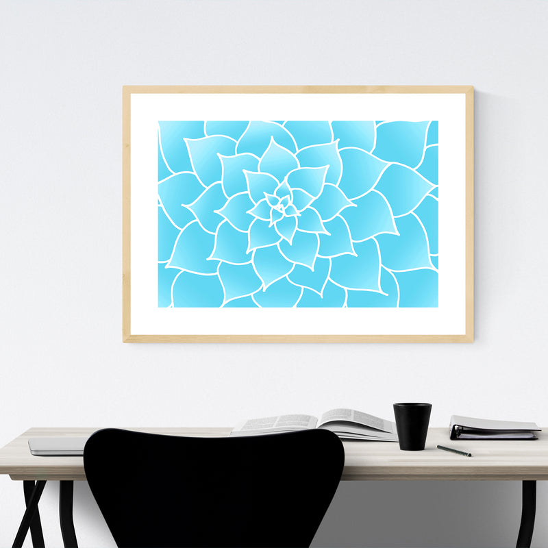 Blue Flower Floral Botanical Framed Art Print
