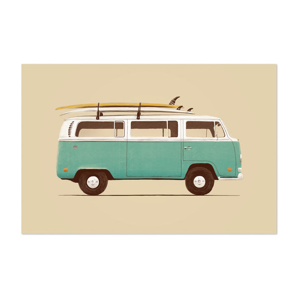 Vintage Retro VW Van Surfing Art Print