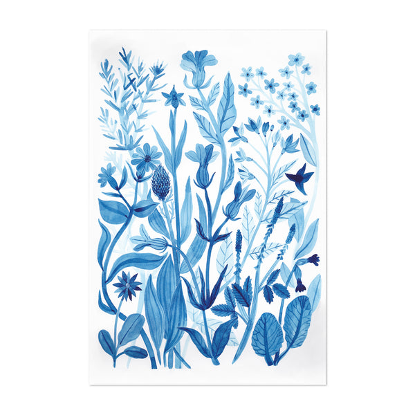 Blue Wildflowers Floral Botanical Art Print