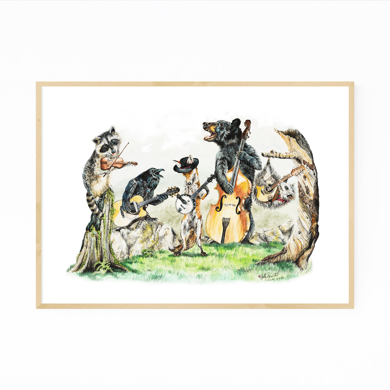 Cute Animals Bluegrass Band Framed Art Print