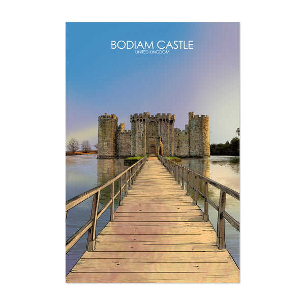 Bodiam Castle UK Travel Poster Art Print