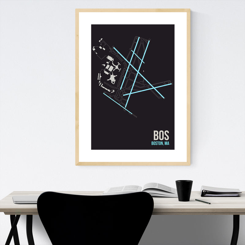 Boston Airport Code Poster Framed Art Print