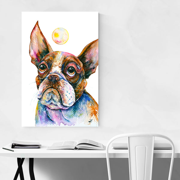 Animal Boston Terrier Puppy Painting Art Print