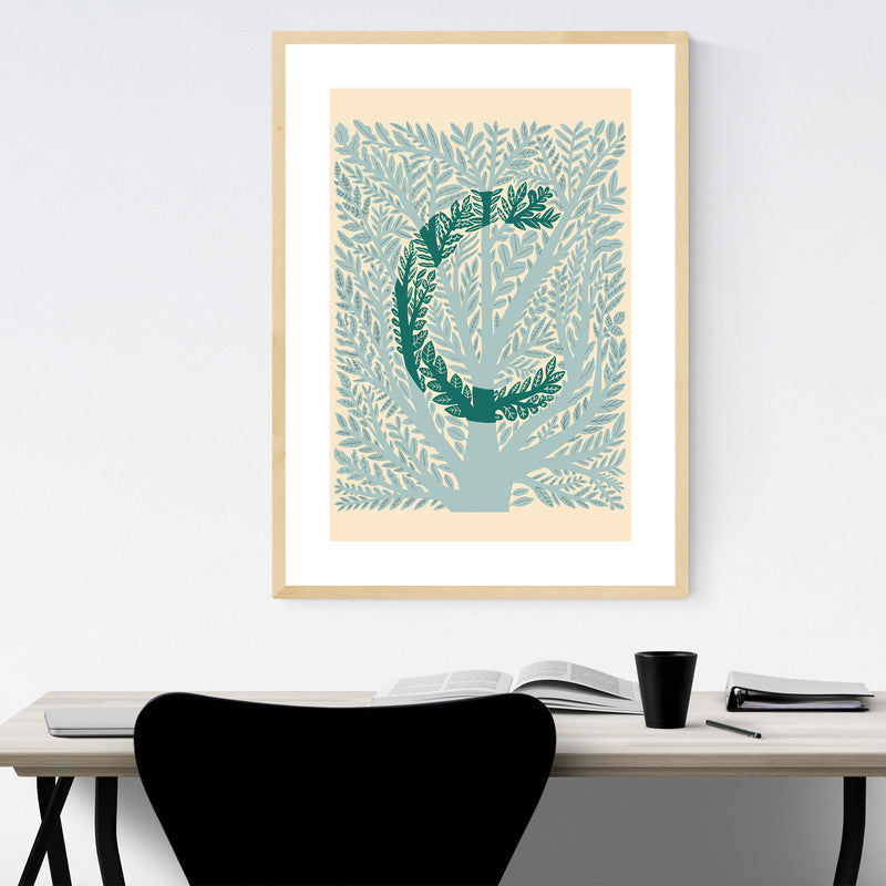 Alphabet Letter C Monogram Framed Art Print