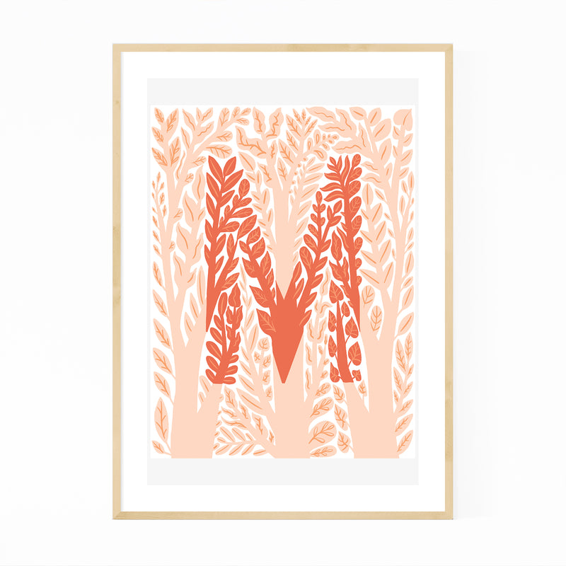 Alphabet Letter M Monogram Framed Art Print