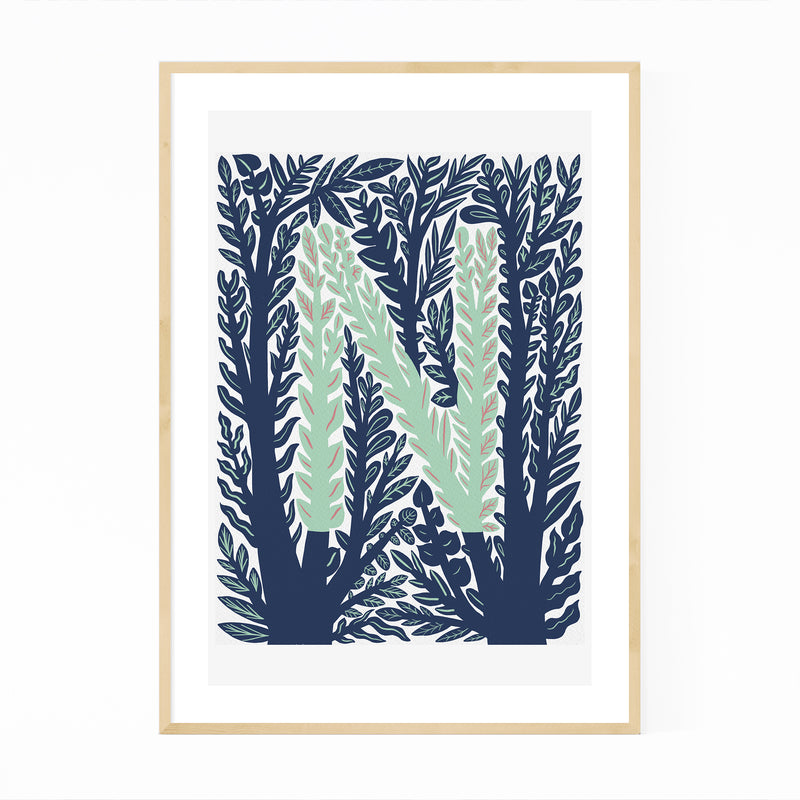 Alphabet Letter N Monogram Framed Art Print
