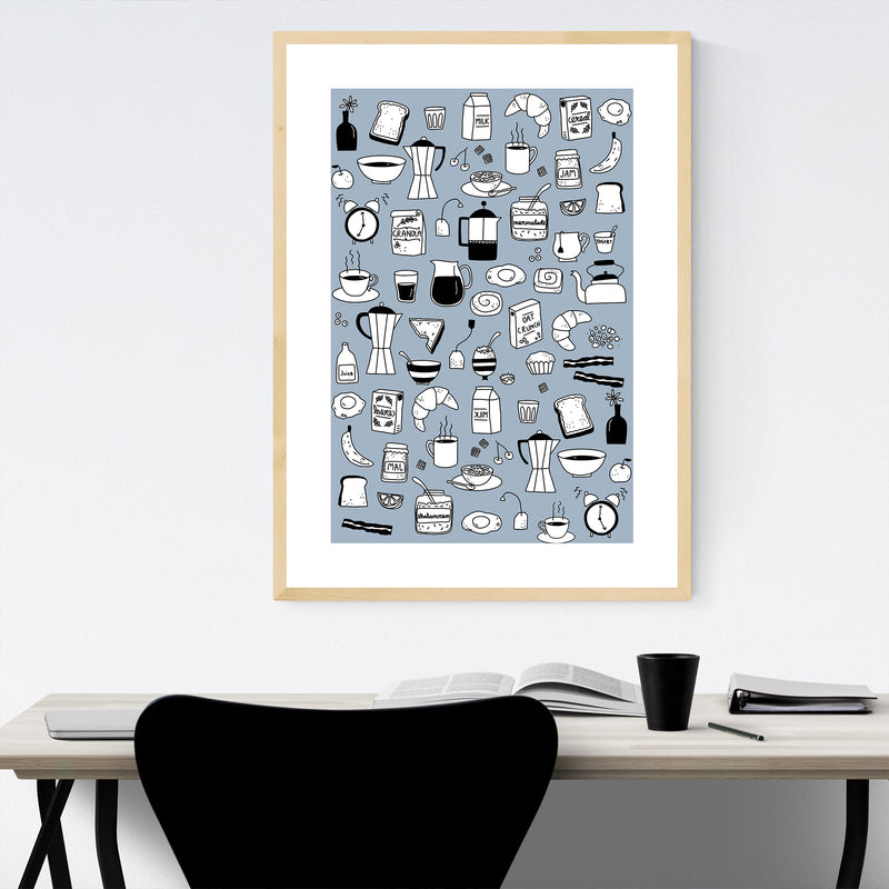 Breakfast Food Pattern Kitchen Gift Framed Art Print