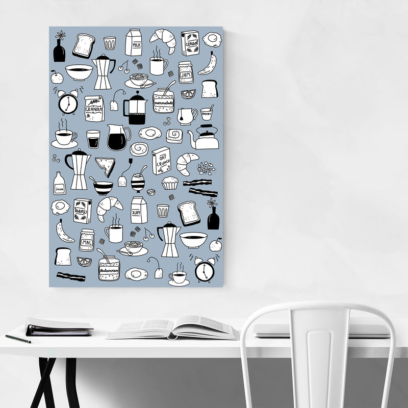 Breakfast Food Pattern Kitchen Gift Art Print