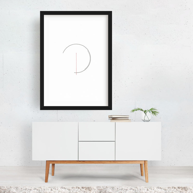 Abstract Minimal Circles Line Drawing Framed Art Print