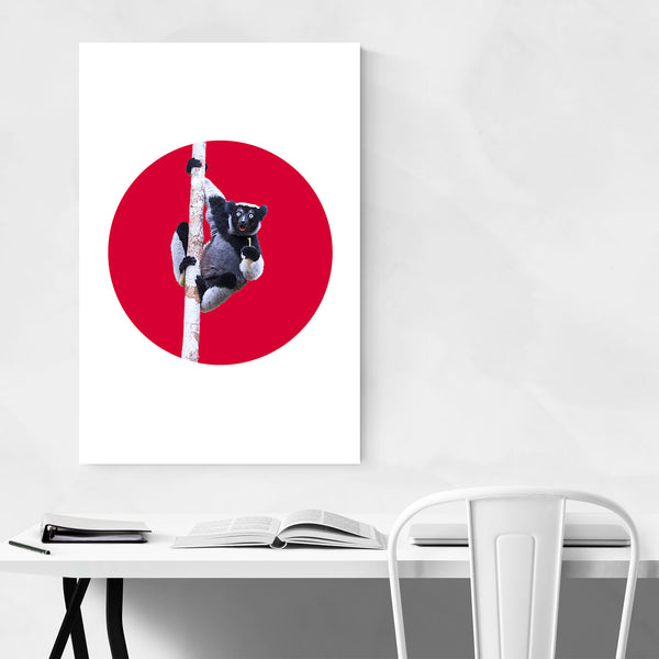 Red Lemur Minimal Animal Art Print