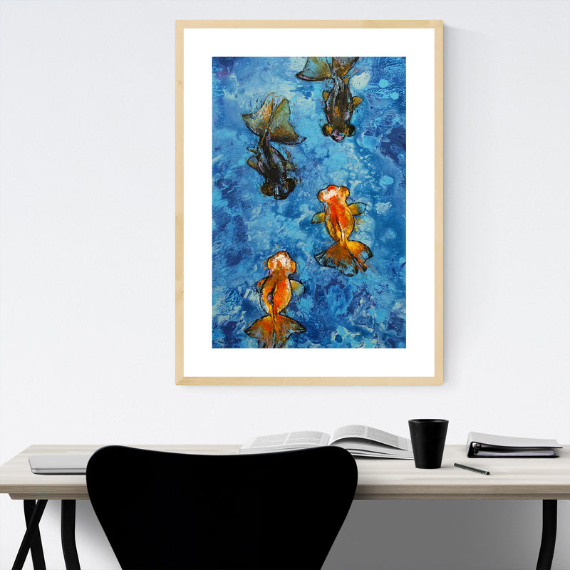 Butterfly Tail Goldfish Painting Framed Art Print