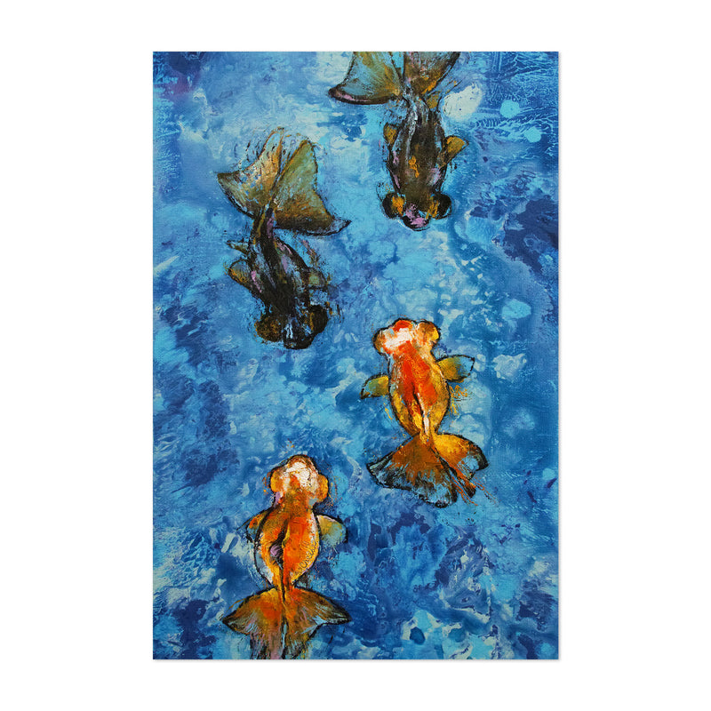 Butterfly Tail Goldfish Painting Art Print