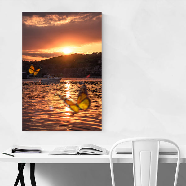 Norway Coastal Boats Sunset Nature Art Print