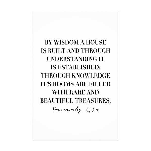 Proverbs 24:3-4 Bible Typography Art Print