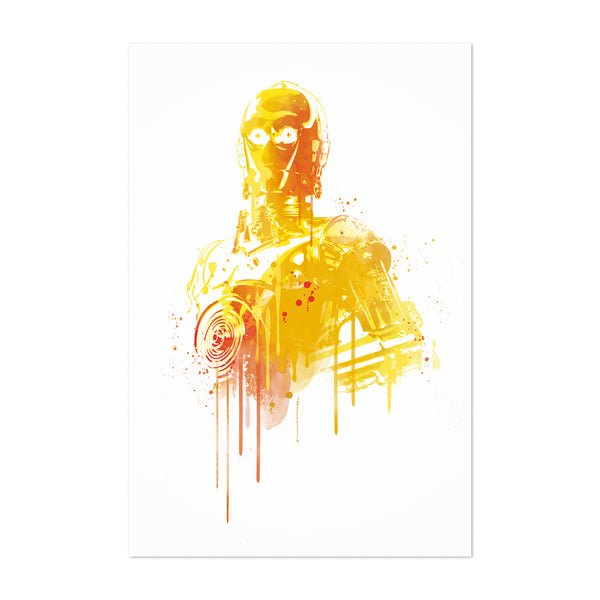C3PO Star Wars watercolor Art Print