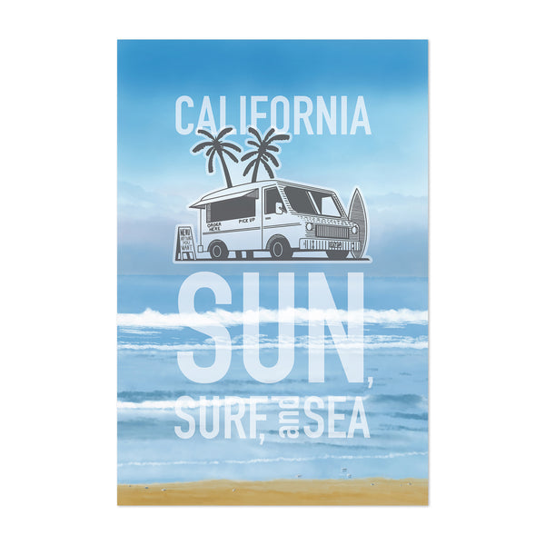 California Beach Travel Poster Art Print