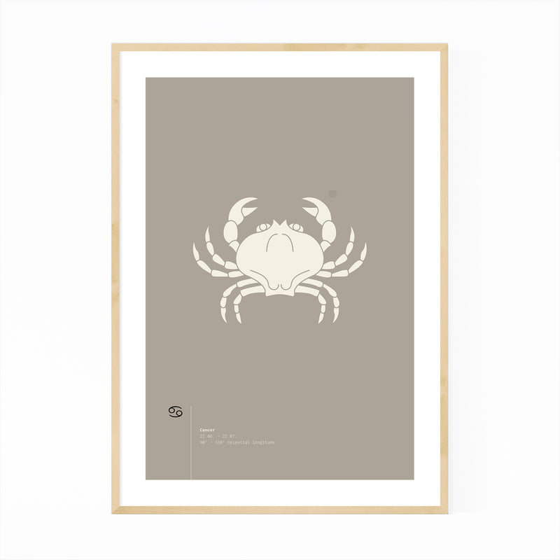 Cancer Star Sign Astrology Minimal Framed Art Print