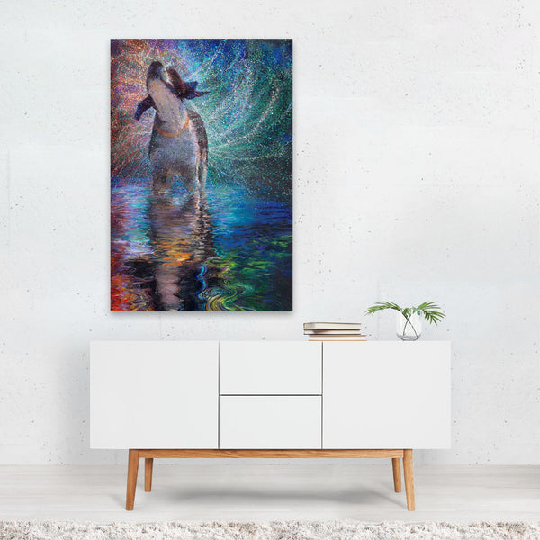 Dog Northern Lights Night Rainbow Art Print