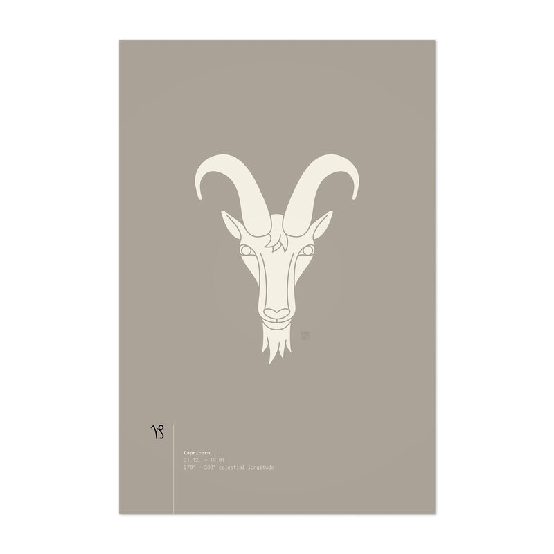 Capricorn Sign Astrology Minimal Art Print