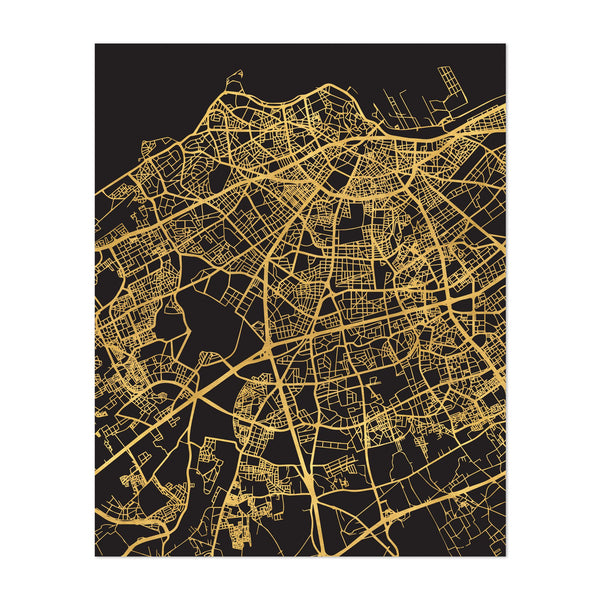 Casblanca Morocco Urban Map Art Print