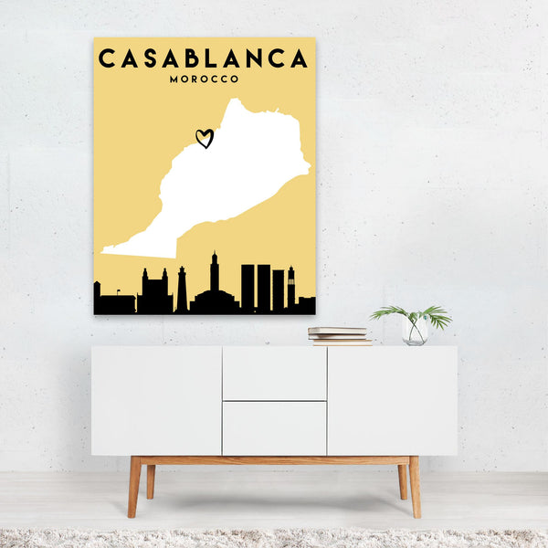Casblanca Morocco Heart Urban Map Art Print