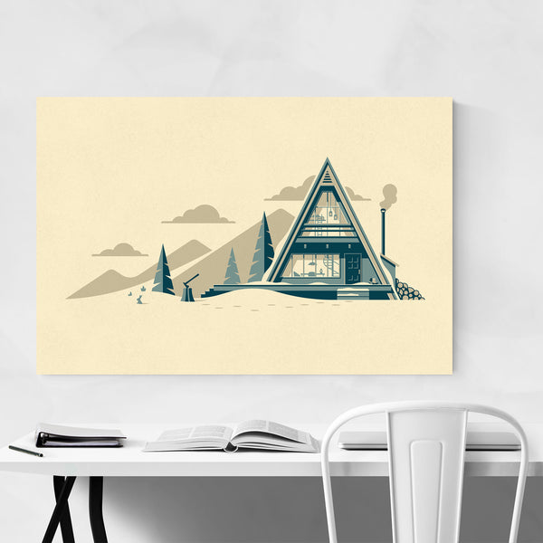 Cabin Camping Nature Mountain Winter Art Print