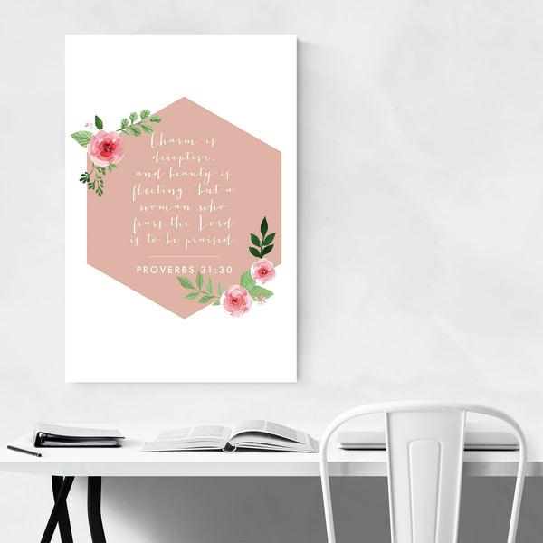 Proverbs 31:30 Bible Typography Art Print