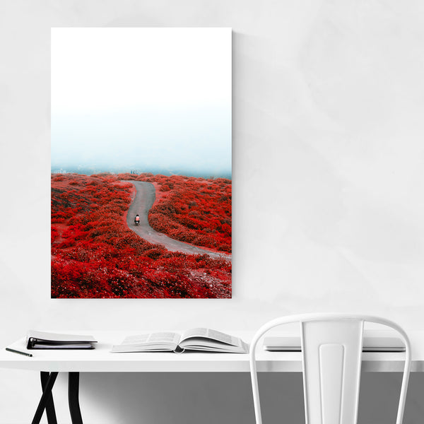 Floral Botanical Motorcycle Mountain Art Print
