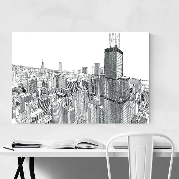 Chicago Skyline Cityscape Drawing Art Print