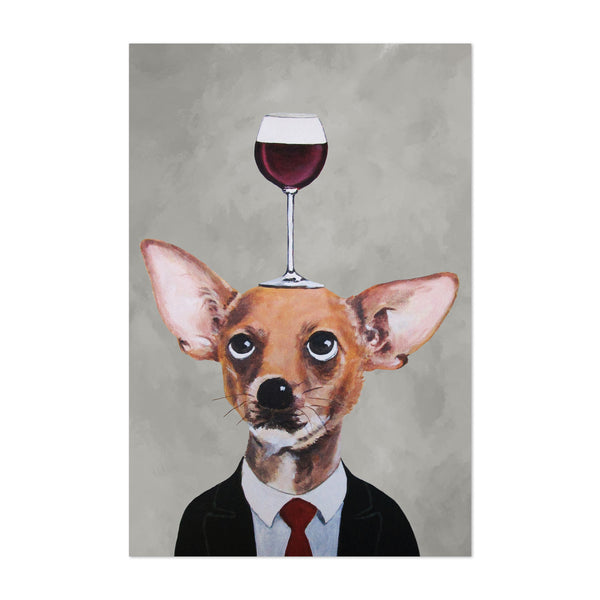 Funny Chihuahua Wineglass Painting Art Print