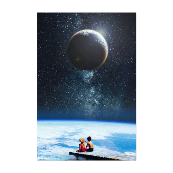 Vintage Earth Space Moon Kids Art Print