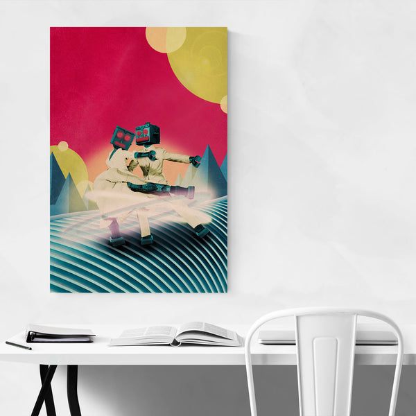 Retro Surreal Robot Abstract Collage Art Print