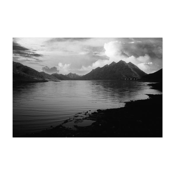 Mountains Lake Badi Udaipur India Art Print