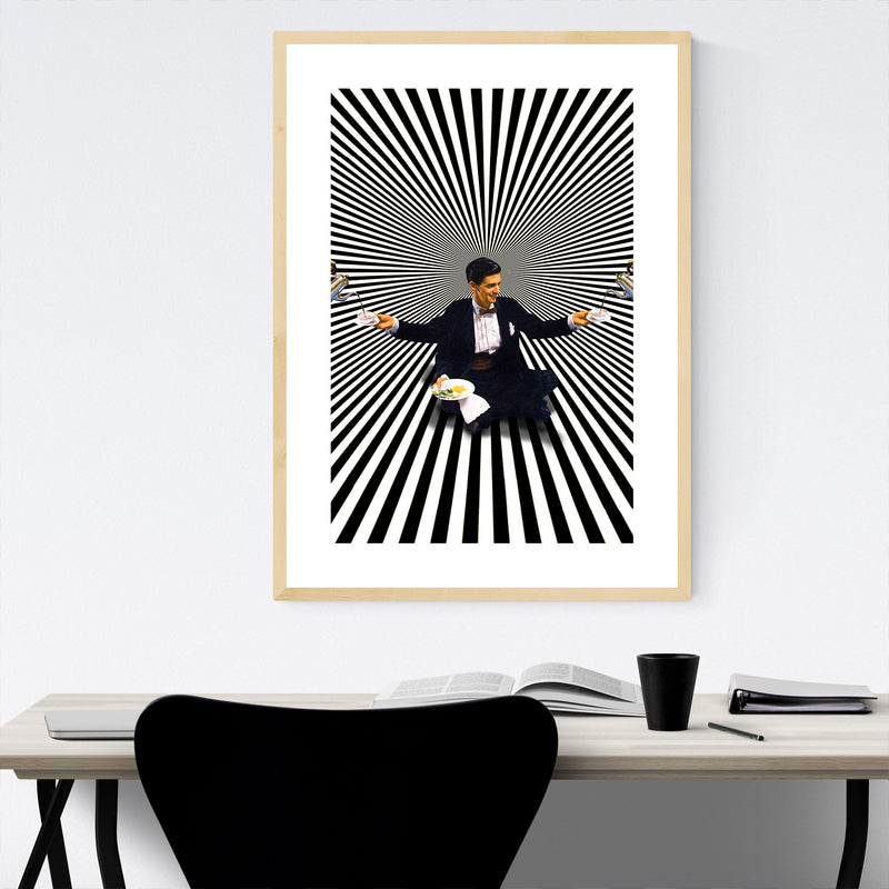 Coffee Optical Illusion Man Collage Framed Art Print