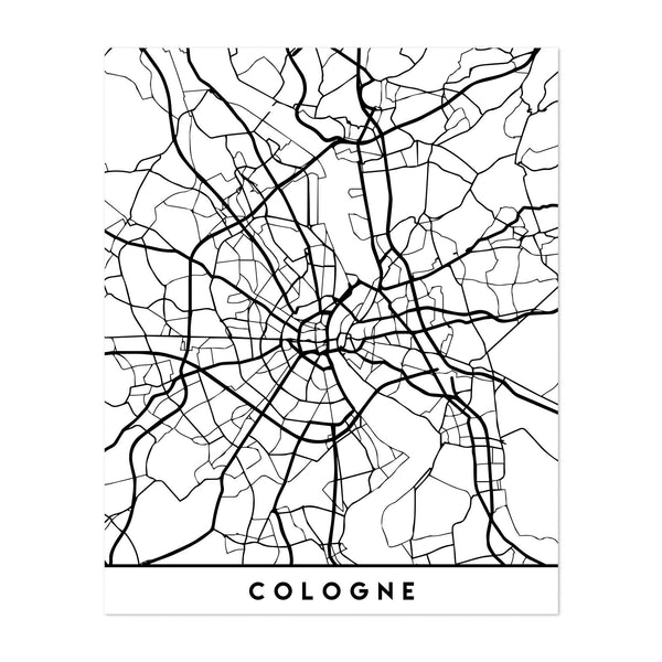 Cologne Germany Urban Map Art Print