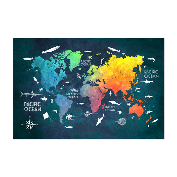 Colorful Nautical World Map Art Print