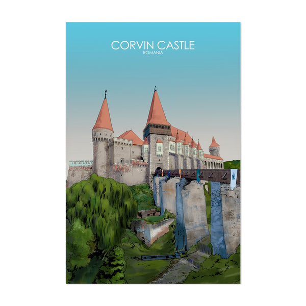 Corvoin Castle Romania Retro Art Print