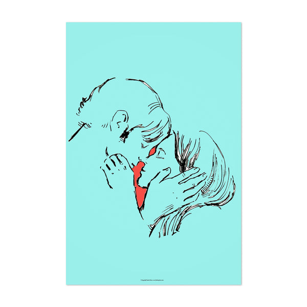 Love Kissing Line Drawing Art Print