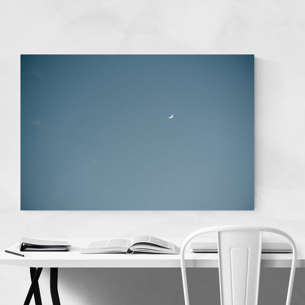 Crescent Moon Blue Sky Photo Art Print