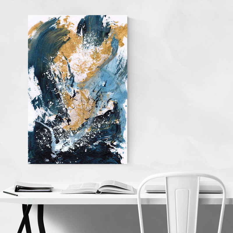 Abstract Acrylic Blue Gold Art Print