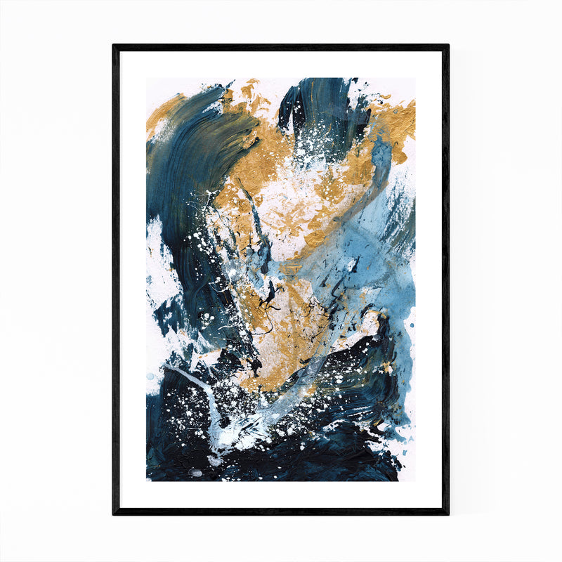 Abstract Acrylic Blue Gold Framed Art Print