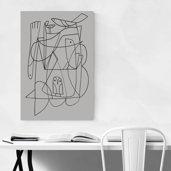 Abstract Line Drawing Birds Fish Art Print
