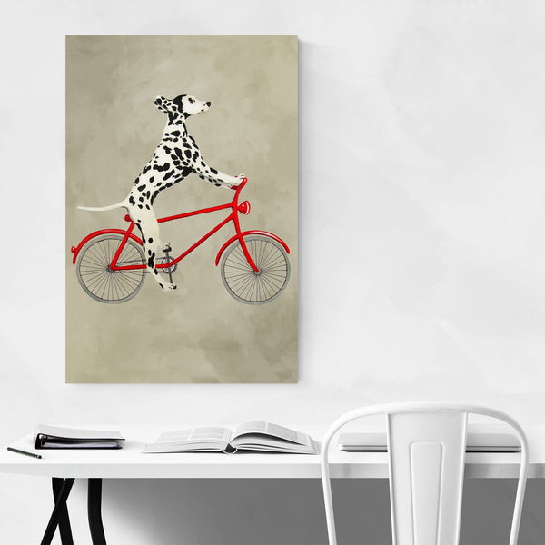 Dalmatian On Bicycle Painting Art Print