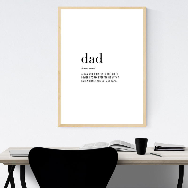 Dad Definition Typography Framed Art Print