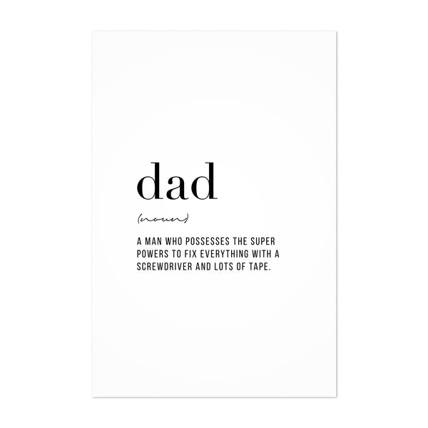Dad Definition Typography Art Print