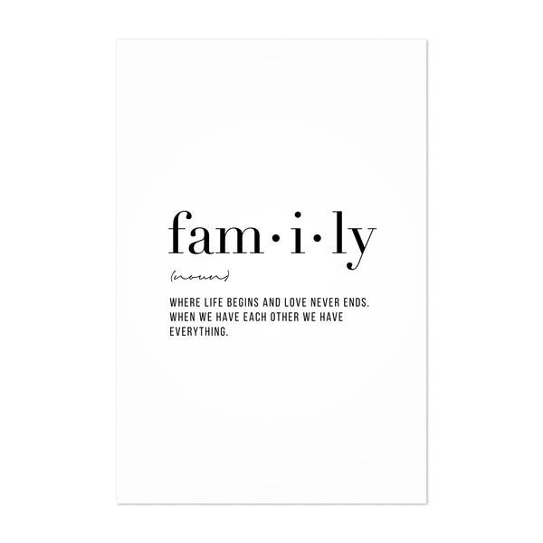 Family Definition Typography Art Print
