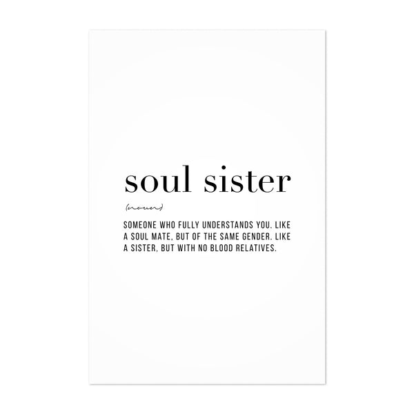 Soul Sister Definition Typography Art Print