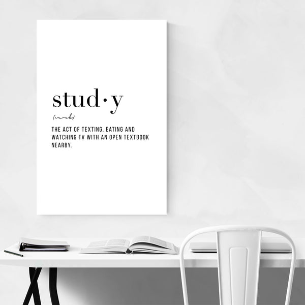Study Definition Typography Art Print