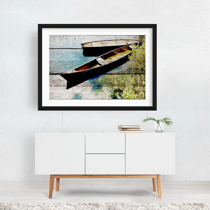 Beach Nautical Boats Mixed Media Framed Art Print